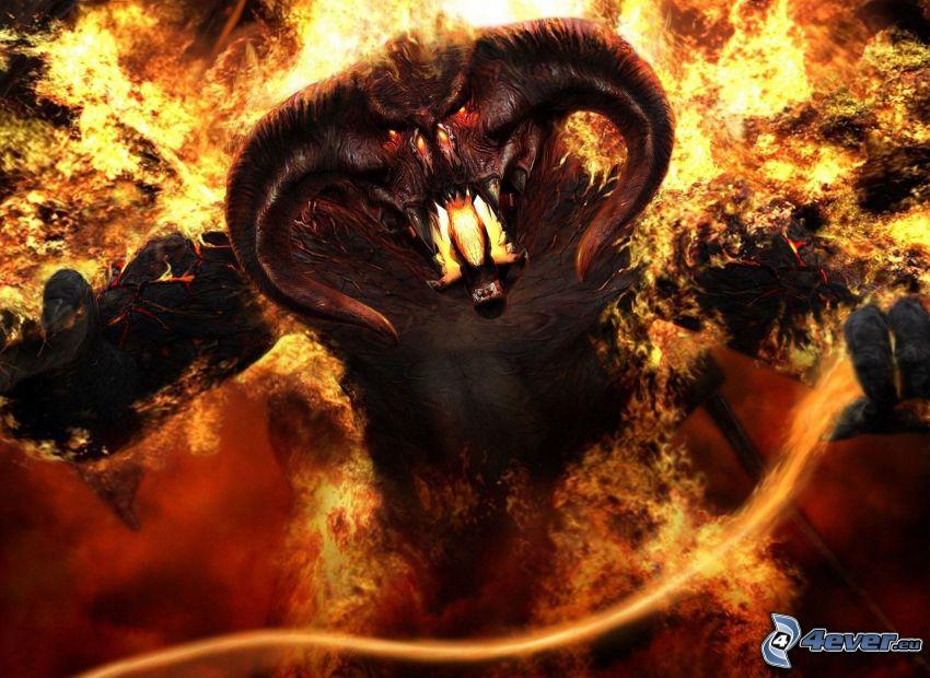 Pan Pierścieni, potwór, ogień