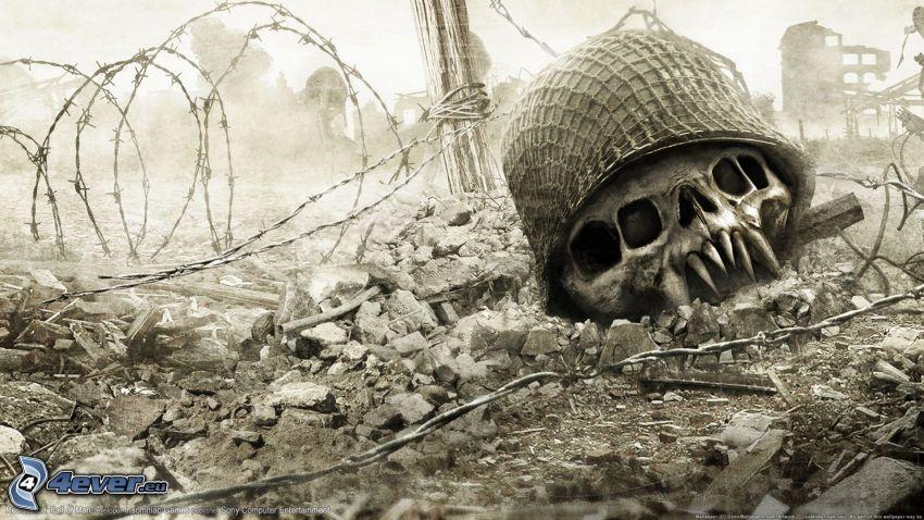 Resistance: Fall of Man, czaszka, drut kolczasty