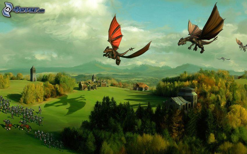 SpellForce, latający smok, rysunkowy krajobraz