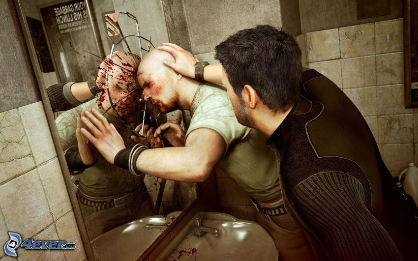 Splinter Cell: Conviction, bójka, toaleta, rozbite szkło