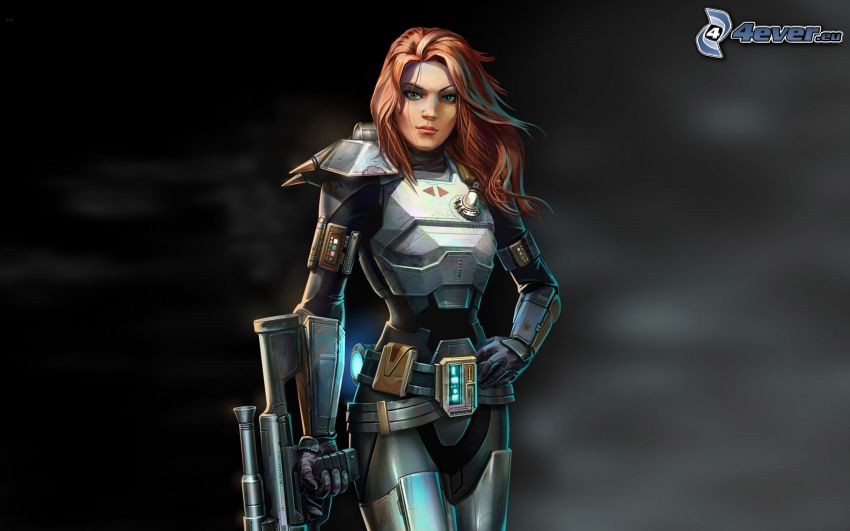 Star Wars: The Old Republic, kobieta narysowana, kobieta z pistoletem
