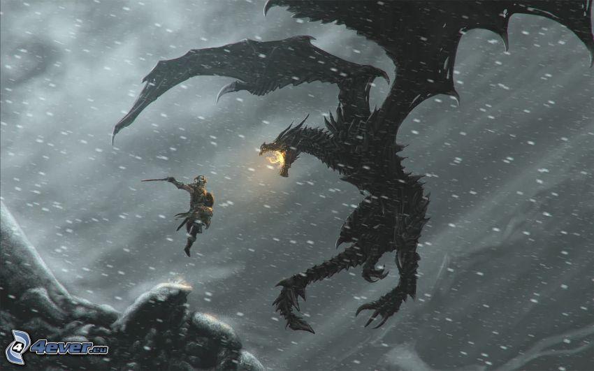 The Elder Scrolls Skyrim, czarny smok, wojownik