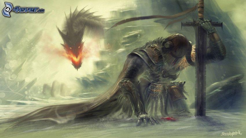 The Elder Scrolls Skyrim, fantazyjny bojownik, smok, miecz