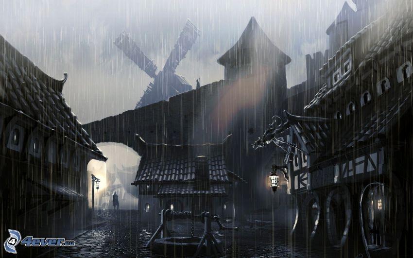 The Elder Scrolls Skyrim, średniowiecze, miasto nocą, deszcz