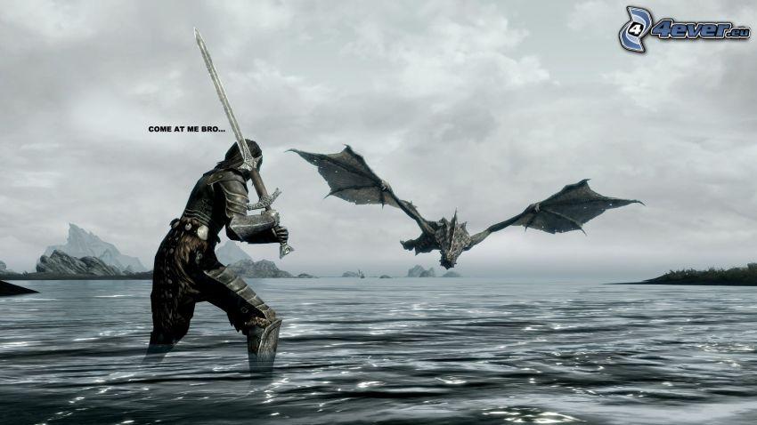 The Elder Scrolls Skyrim, wojownik, latający smok