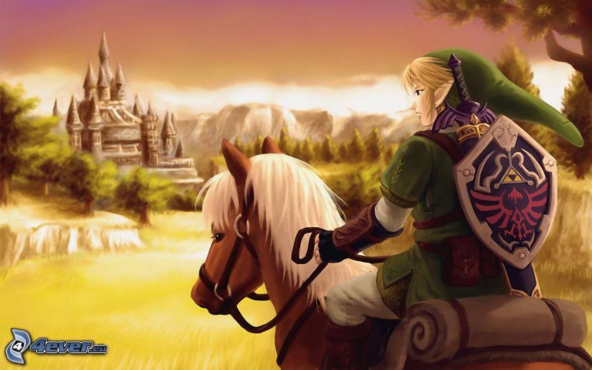 The Legend of Zelda, zamek, koń, elf