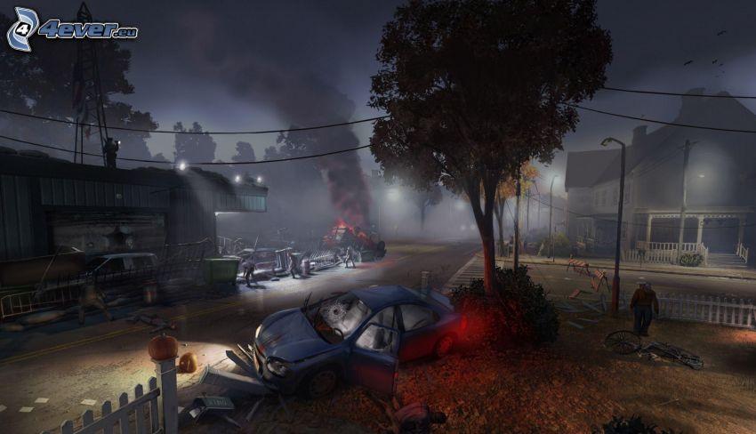 The Secret World, wypadek, rozbity samochód, płot