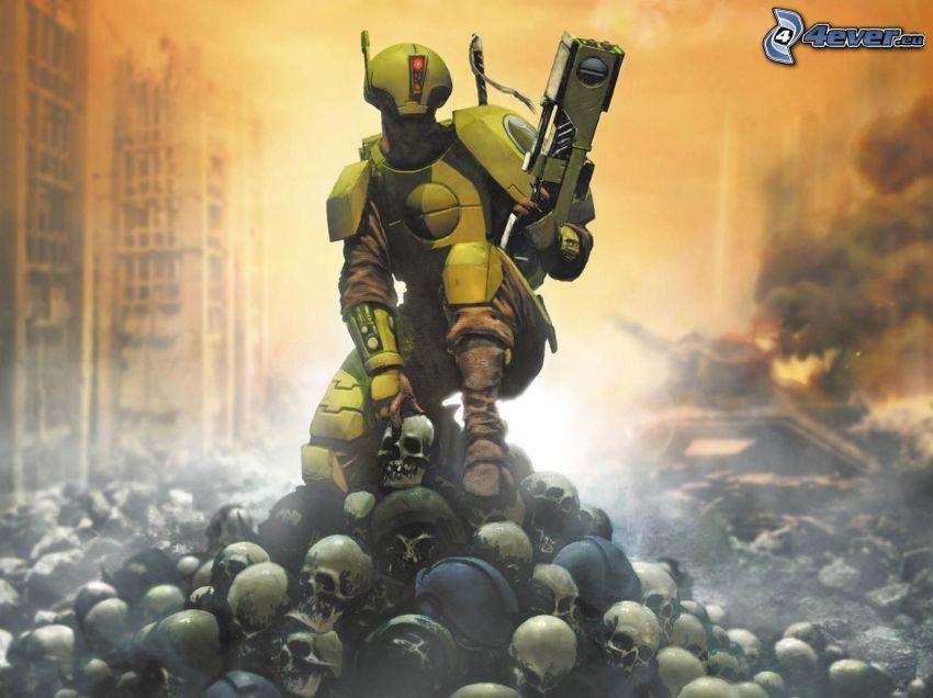 Warhammer, robot, czaszki