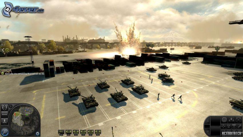 World in Conflict, czołgi, eksplozja, parking