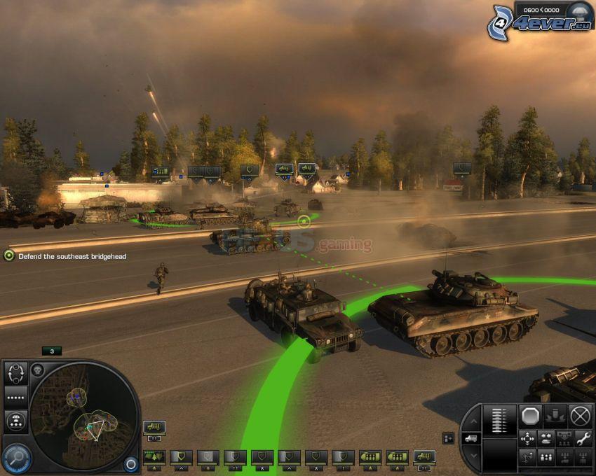 World in Conflict, czołgi, strzelanie, las