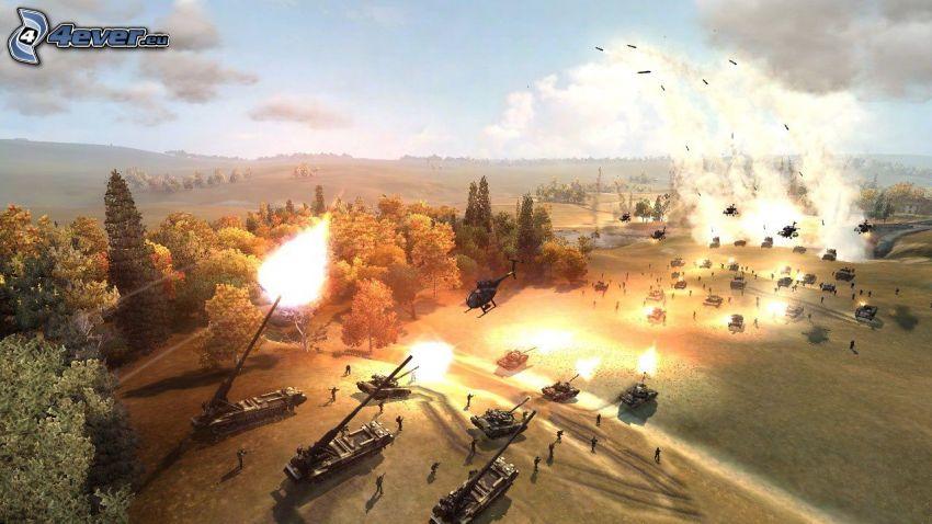 World in Conflict, czołgi, strzelanie, lasy i łąki