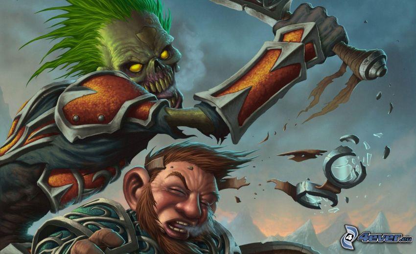 World of Warcraft, bójka, uderzenie, kostucha