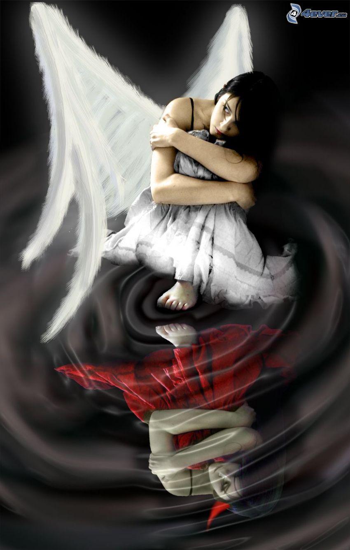 anielski diabeł, anioł i diabeł, dziewczyna, kobieta ze skrzydłami, odbicie