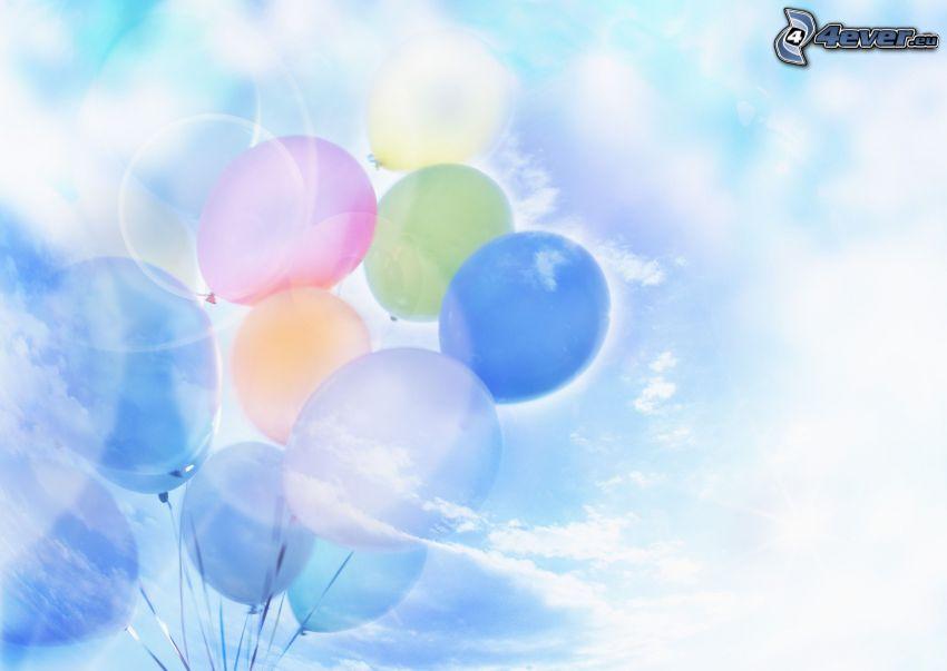 balony, niebo