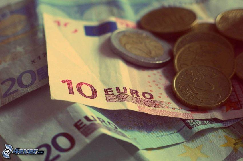 banknoty, monety