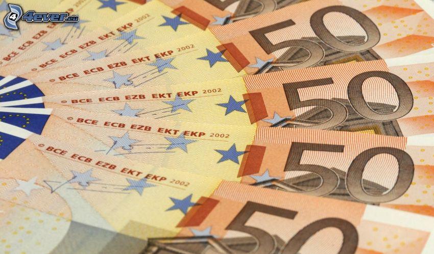 banknoty, pieniądze, 50 Euro