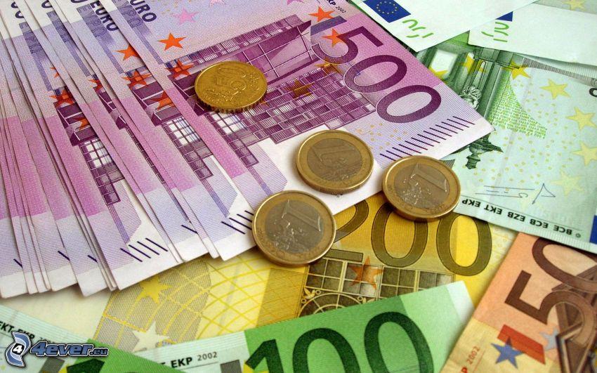 banknoty, pieniądze, monety