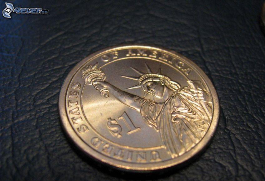 dolar, moneta, Statua Wolności