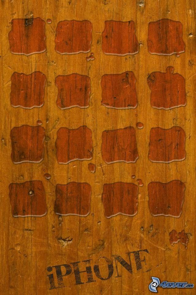 drewno, woda, iPhone, kwadraty, kleksy