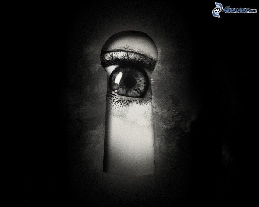 dziurka od klucza, oko, czarno-białe zdjęcie