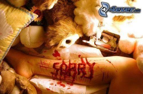 emo, stopa, krew, łóżko, smutek