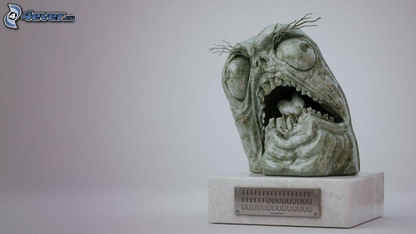 ffffuuu, posąg, potwór