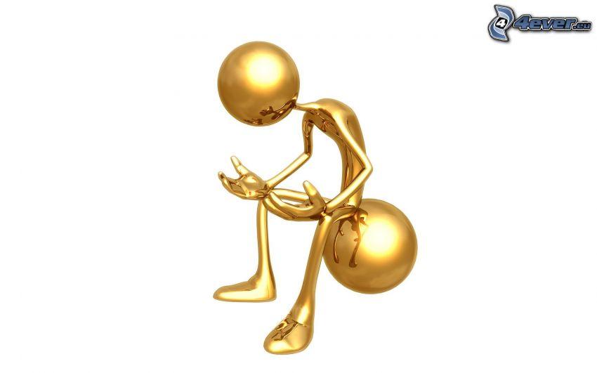 figurka, kula, złoto