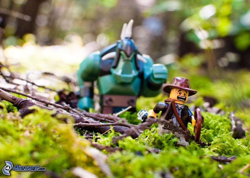 figurki, Lego, kowboj, mech, konary