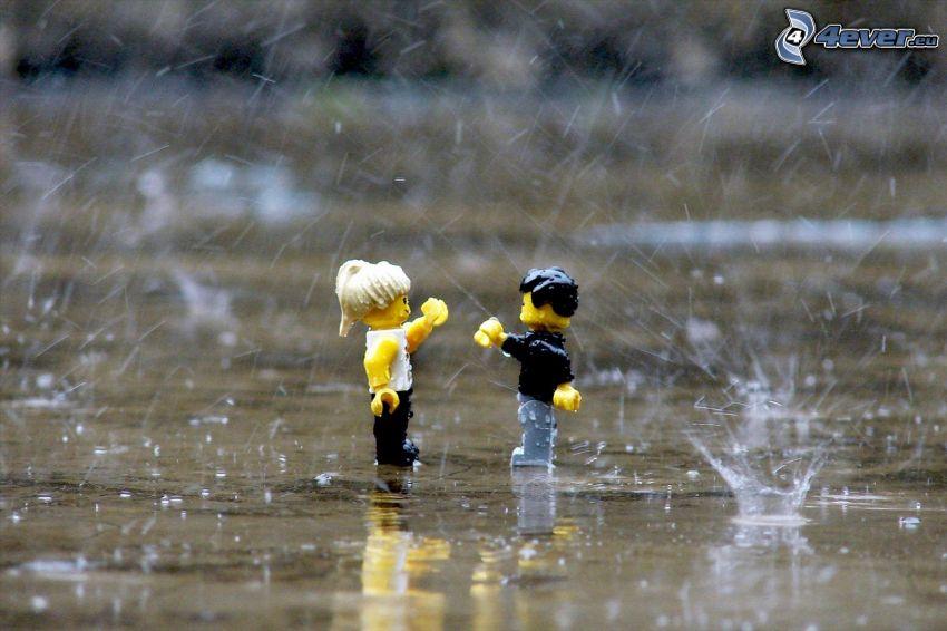 figurki, Lego, krople wody, plusk