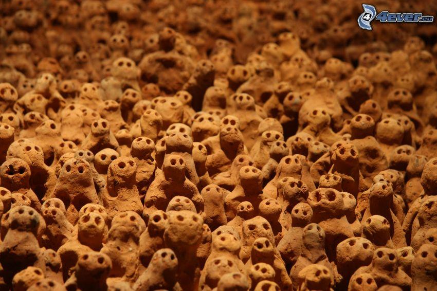 figurki, twarze, ziemia