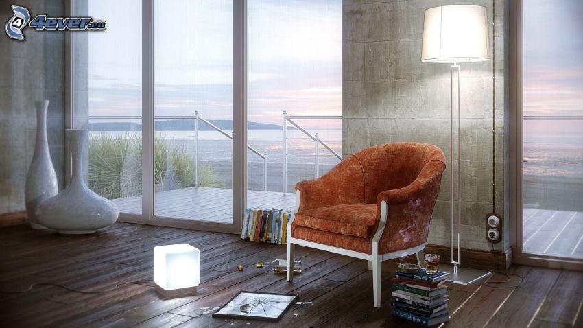 fotel, książki, lampa
