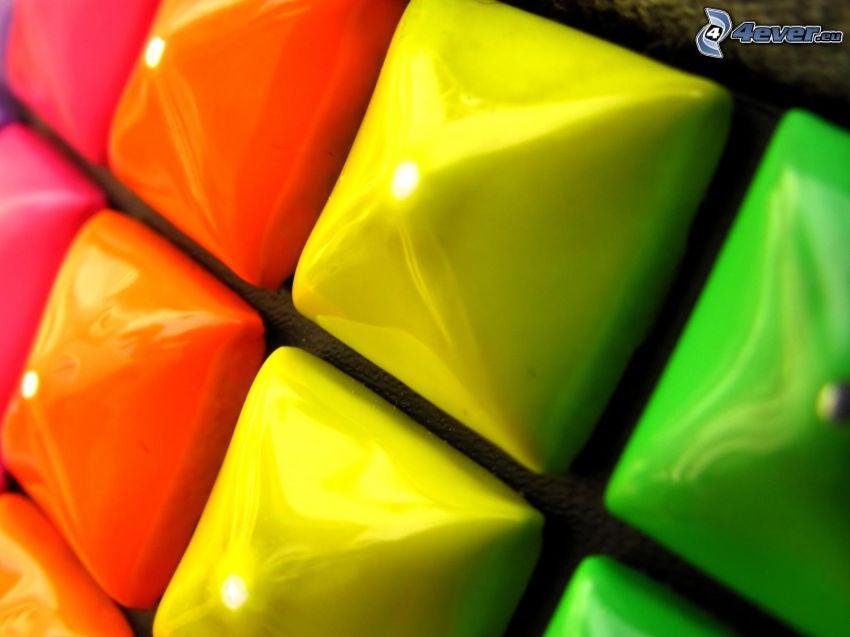 guziki, kwadraty, kolory