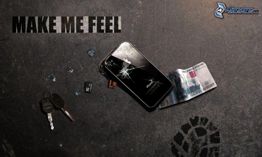 iPhone, pęknięcie, banknot, klucze, ślad