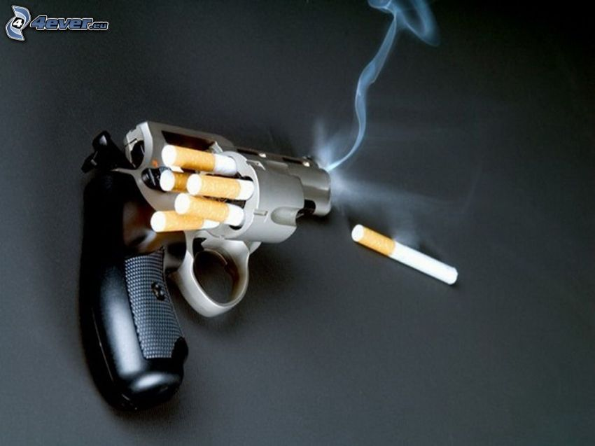 kampania antynikotynowa, papierosy, rewolwer