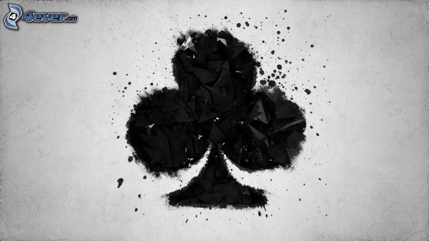 karty, liść, czarno-białe