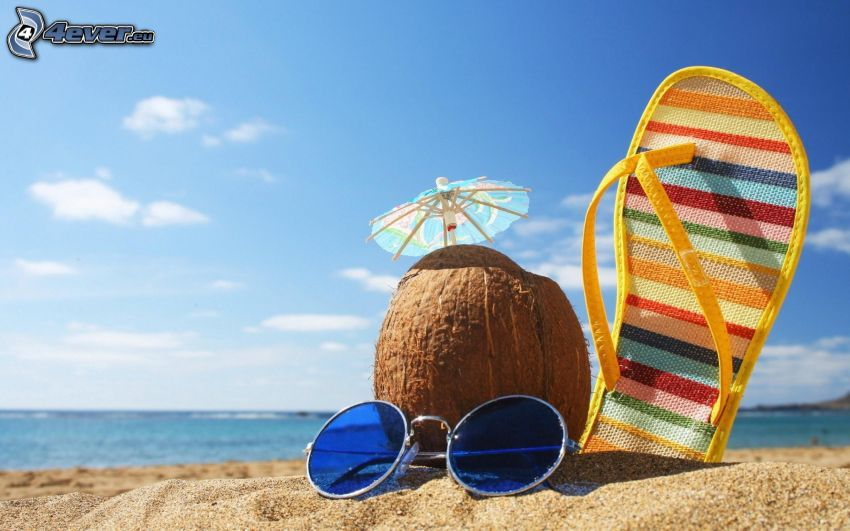 klapki, orzech kokosowy, okulary przeciwsłoneczne, plaża, morze