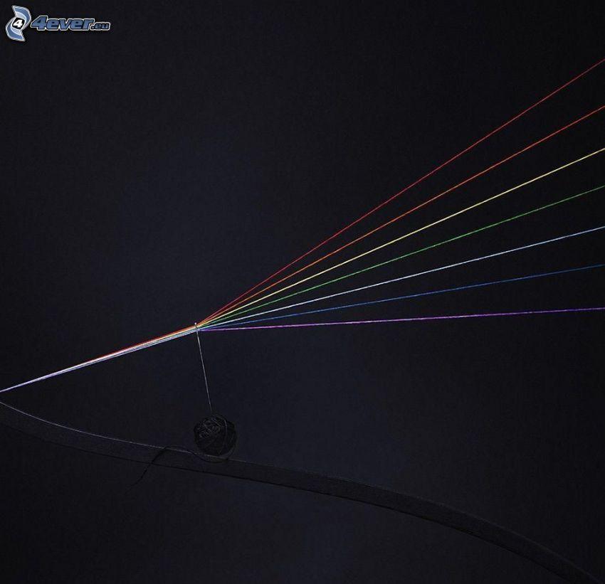 kolorowe linie, kłębek