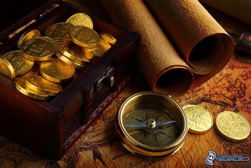 kompas, skarb, mapa historyczna