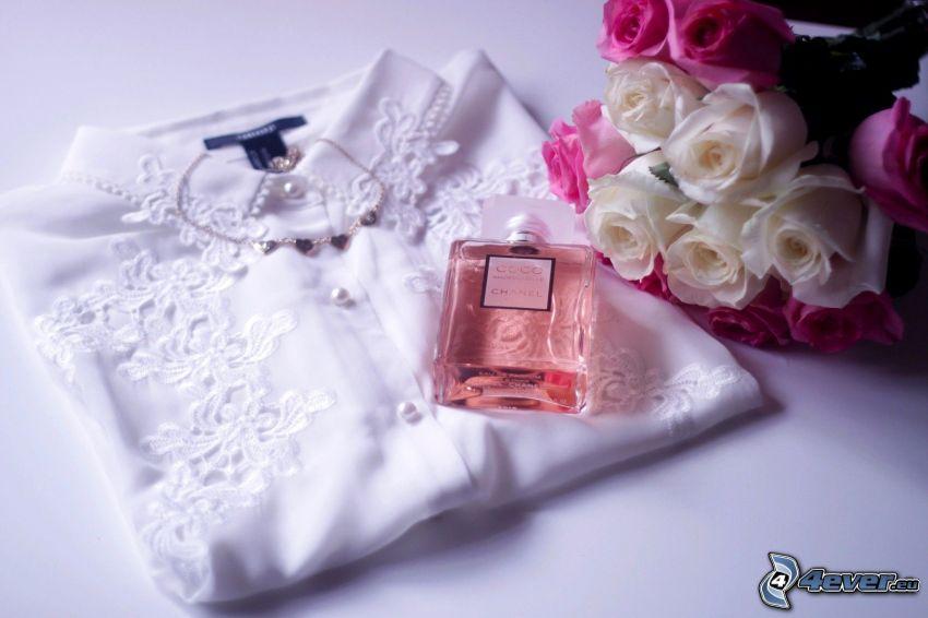 koszula, perfumy, bukiet róż