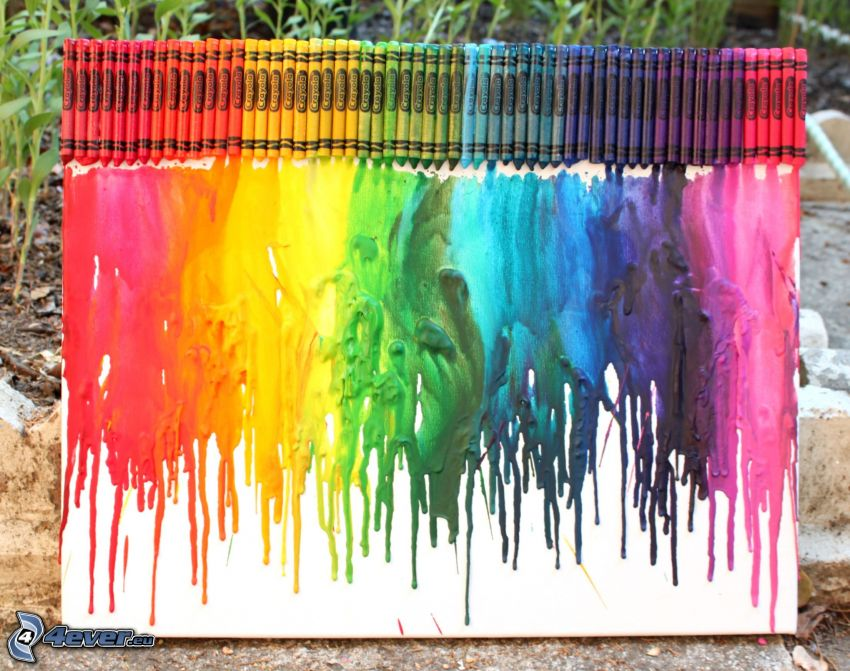 kredki woskowe, obraz, kolory tęczy