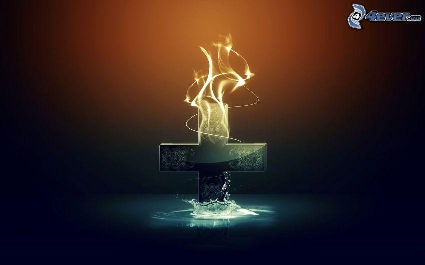 krzyż, ogień i woda