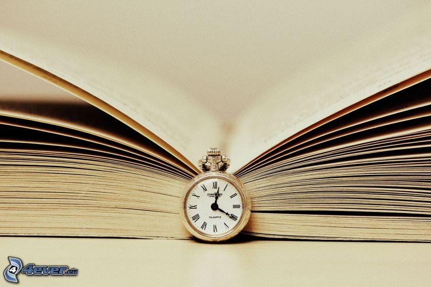 książka, zabytkowy zegarek