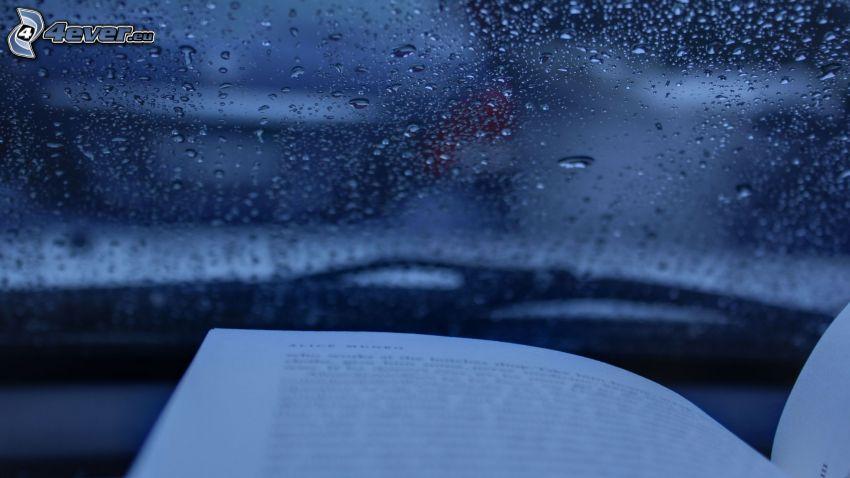 książka, zroszone szkło