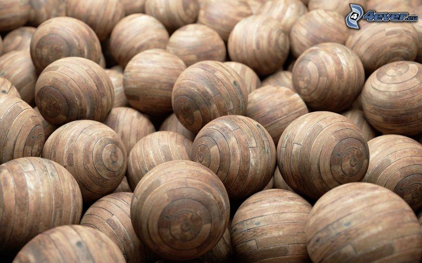 kuleczki, drewno