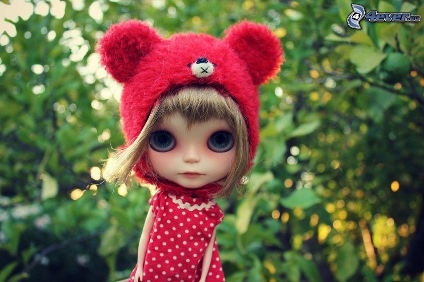 lalka, drzewo, niebieskie oczy