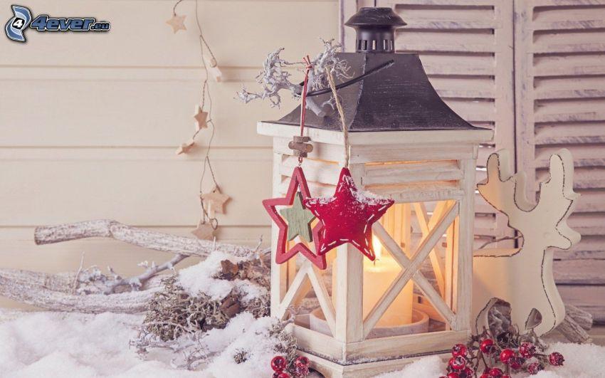 lampiony, gwiazdy, renifer, gałązka, świeca, śnieg