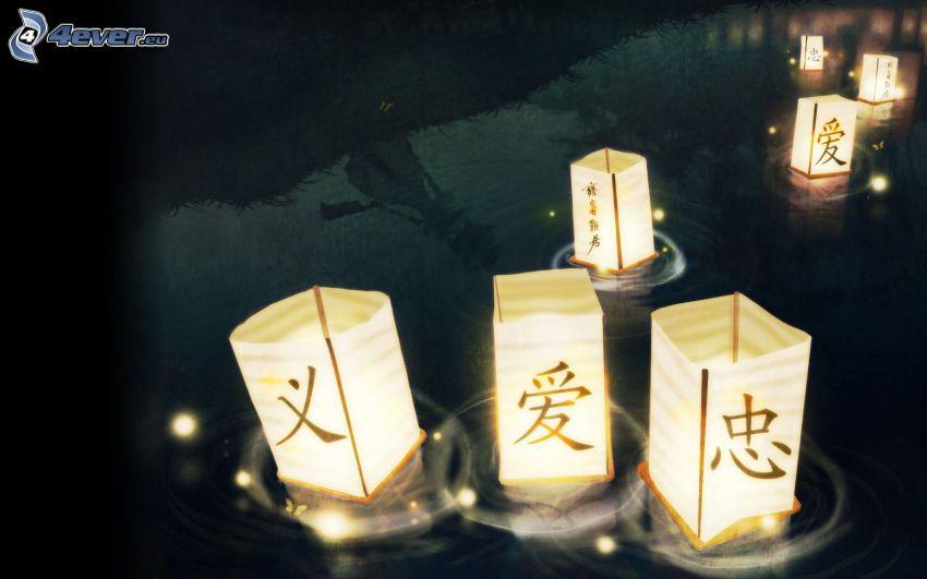 lampiony, światła na wodzie