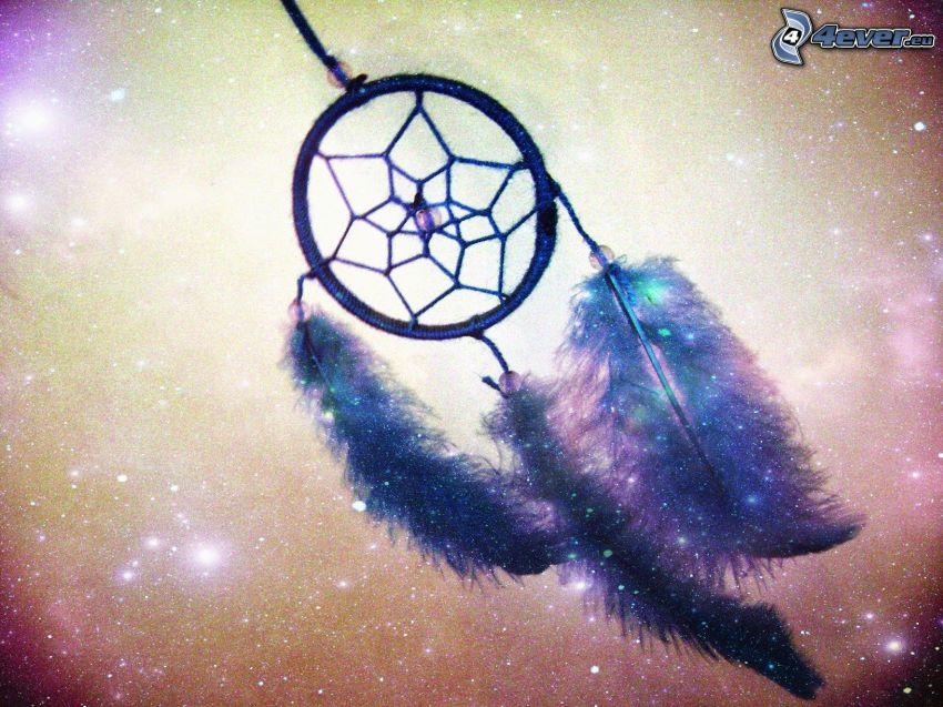 łapacz snów, piórka, gwiazdy