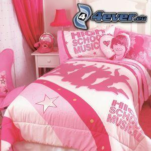 łóżko, różowy
