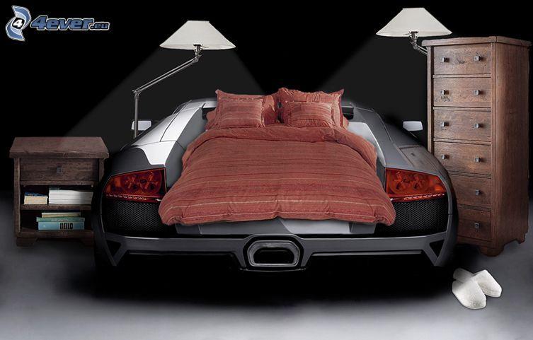 łóżko, samochód, Lamborghini, lampy